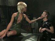 black shemale Nyobi on her lucky slave