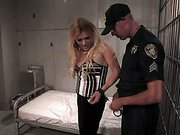 Shemale babe in hot sex in jail