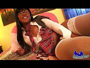 ebony shemale is naked and posing in her room