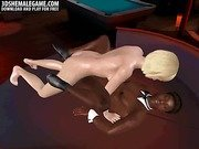 3D cartoon ebony hunk getting fucked by a shemale