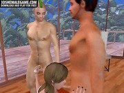 Sexy 3D cartoon shemale babe getting double teamed