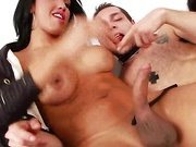 Shemales in threesome gets cock sucked by lucky guy