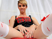 Short haired shemale Nicoli Blazaki seduces wearing lingerie then masturbates