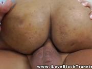 Ebony tranny enjoying some white dick