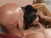 TS Gaby B knows what her boss needs and lets him anal fuck her