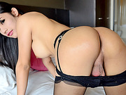 Seductive ladyboy doll Bee explodes jizz