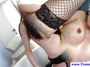 Tranny amateur in lingerie ass fucking in high def