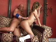 Superb TS Celeste gives head and gets fucked hard in the ass