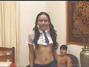 teen ethnic shemale and two lucky guys