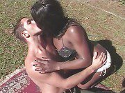 black shemale and her hot lover outdoors