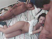 cock loving shemale in hot threesome sex
