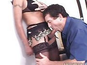 mature shemale gets her cock sucked by her lover