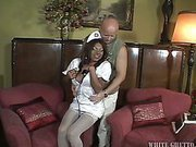 black shemale nurse is feeding a guy with her dick