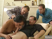 Brunette tranny Jessica Fox sucks and fucks three cocks