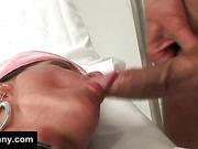 Tranny dressed as nurse gets anal