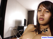 Beautiful shemale ladyboy masturbates