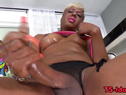 Black tgirl tugs and cums in solo