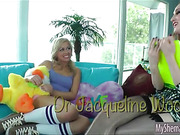 Slender shemale Jacqueline Woods anal pounding hot teen Zoey