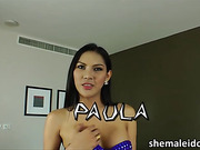 Pretty Asian ladyboy Paula pumps her erection to satisfy her lust