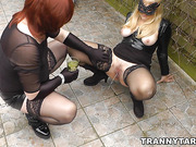 Mistress uses sissy crossdresser outdoors