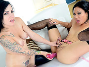 Nasty asian shemale Annalise Rose rips pussy until she cums