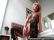 Beautiful big cock tranny masturbates