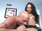 Ebony Tgirl Morgan Bailey engages in bareback sex with her hunk lover