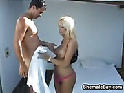 Shemale In A Threesome By The Pool