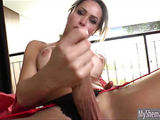 Massive tits tranny Rakel Rodrigues handjobs to orgasm