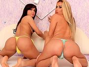 Red hot tgirls Juliana Souza and Bruna Butterfly ass fucking
