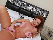 Busty mature tranny masturbates her dick