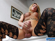 Ts Camille Andrade beats her huge cock