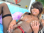 Ebony Tgirl Bambi pleases herself with dildo in solo masturbation