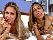 Stunning TS girlfriends take turns getting asses pounded
