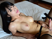 Pretty ladyboy Bee sticks a dildo toy in ass while masturbating