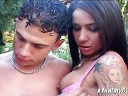 shemale enjoys hot orgy outdoors
