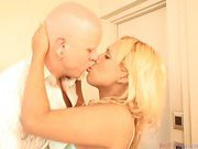 petite blondie shemale and her bald lover