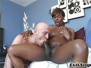 Beautiful black tranny gets her dick sucked until she cums!