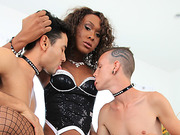 Ebony tranny Kayla Biggs engages on threesome anal sex with gays