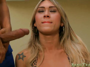 Stunning big boobs shemale anal railed