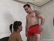 Tanned Tranny Takes Doggystyle Pumping