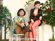 Meggy&Gilbert strapon sissysex action