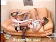 Ninette&Adrian strapon pussyclothed sex movie