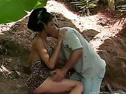 pretty shemale is outdoors blowing a lucky dick