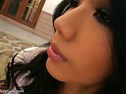 beautiful eyed ladyboy is outdoors wanking