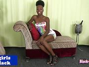 Skinny black tgirl tugs her schlong