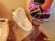 Plump chica tgirl preps for scene
