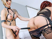Fetish TS vixens Kendra Sinclaire and Nina Lawless fucked