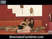 Patricia&Amanda shemale fucks girl video