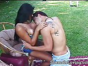 Nasty shemale takes it deep outdoors